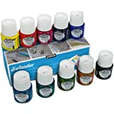 Pebeo Setacolor Transparent Fabric Paint Set, Cardboard Box of 10 Assorted 45-Milliliter Jars