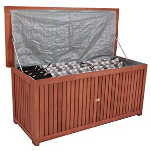 auflagenbox holzkiste f r gartenauflagen auflagenkiste aus akazie ge lt. Black Bedroom Furniture Sets. Home Design Ideas
