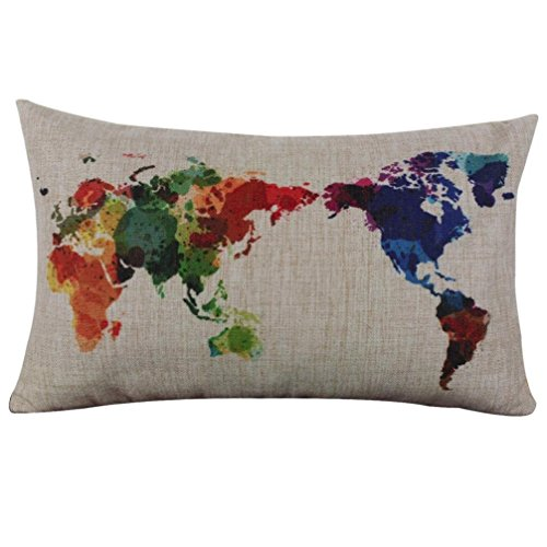World Map Oyedens-Federa per cuscino, in lino, 29,97 cm x (11,8 49,78 (19,6 cm, Multicolore, 30cm x 50cm