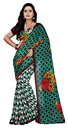 Aaina Women's Faux Georgette Saree with Blouse Piece (Red)