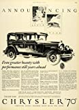 1926 Ad Chrysler 70 Automobile Vintage Car Fred Cole Luxury Motor Vehicle Model - Original Print Ad