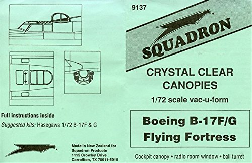 Squadron 1:72 Boeing B-17F/G Flying Fortres Crystal Clear Canopy Vacuform #9137**