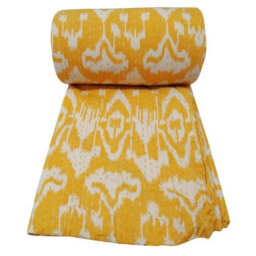 Gudri Kantha Amarillo Edredón Queen Size abstracta hecha a mano Reversible Colcha Colcha impresión decorativa