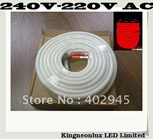Led Neon Flex Red Color 10M/Roll Led Soft Neon Light Led Flexible Neon Strip Led Neon Rope Lights 240V 220V Dhl Express Shipping