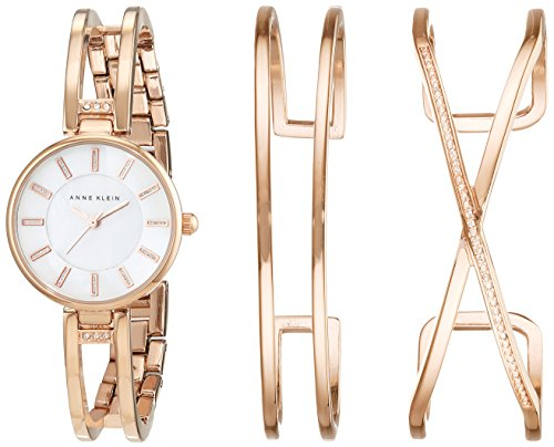 Anne Klein Women's Quartz Watch with Mother of Pearl Dial Analogue Display and Rose Gold Alloy Bracelet AK/N2236RGST