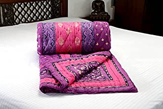 Jodhaa Doubles cotton Razai / Quilt in Pink/Purple / Gold / Black Combo - Queen Size