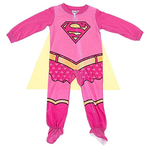 [Supergirl Girls Costume Sleeper Pajamas with Cape (3T)] (Supergirl Costumes Pink)