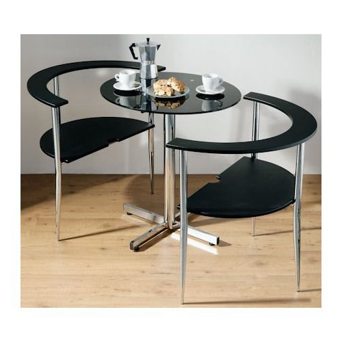 Love Table And 2 Chairs Contemporary Black Dining Set