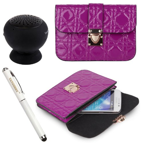 Quilted Pu Leather Cell Phone Bag Pouch Case For Nokia Lumia 520 / Lumia 521 / Lumia 525 Windows Phones + Stylus Pen + Black Bluetooth Speaker (Purple)