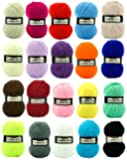 Marriner Yarns Double Knit Bumper Pack | 20 x 100g Balls of Assorted Double Knitting Yarn | Colours Will Vary Depending On Availability | 100% Acrylic