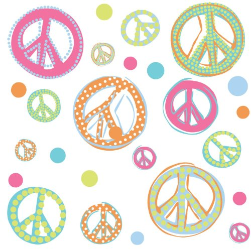 Roommates Rmk1437Scs Glitter Peace Signs Peel & Stick Wall Decals front-254589