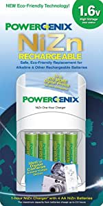 Pgx 1hr Chrgr W/ 4 Rechrg Aa Nizn Eco Rechargeable Aa Batteries (vf)