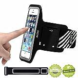 EOTW iPhone SE/5S/iPhone 5 ランニング アームバンド ケース ヘッドフォンホルダー iPhone5/5S/SE用 4インチ スマホ アームバンド ポーチ 防水 超薄型 キーポケット付 (黒_iPhone SE)