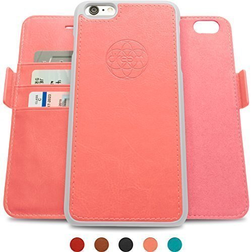 Dreem iPhone 6/6s Case with Detachable Wallet Folio, 2 Kickstands, Gift Box, Premium Vegan Leather, Fibonacci Series, Coral Pink
