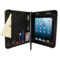 KHOMO Black Executive PadFolio Case with Notepad Holder and Pockets for iPad 2,3,4, iPad Air, iPad Air 2 and iPad Pro 9.7 inch by KHOMO