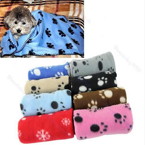 More RM Cute Soft Warm Towel Paw Prints Pet Puppy Dog Cat Fleece Blanket