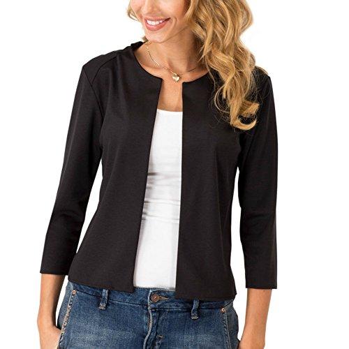 Womens Short Slim Welt Jacket Open Front Casual Work Blazer Black L