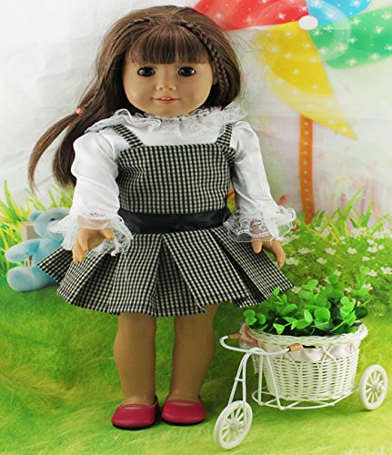 Teenitor(TM) White Shirt + Grid Dress Fits 18 Inch Girl Dolls (Shipping By FBA) - 1