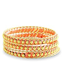 8 Republic London Mother's Day Special Peach Gold Embellished Bangle Bracelet (Set Of 7) For Women