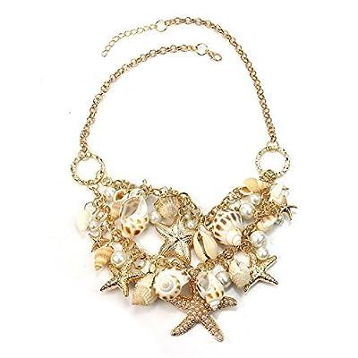 Hot Sweet Chunky Gold Tone Sea Shell Starfish Pearl Bib Statement Necklace