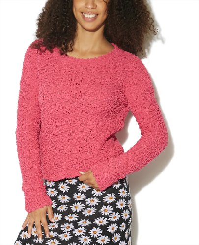 Wet Seal Women's Popcorn Crop Pullover Sweater M Carmine Rose