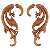 Evolatree - Floral Filigree - Wood - Steel Pin - Cheater Earrings