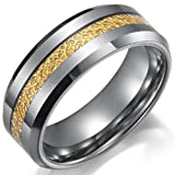 Impressive Tungsten Ring Mens Wedding Band 8mm (Gold Silver) - Free Shipping (8)