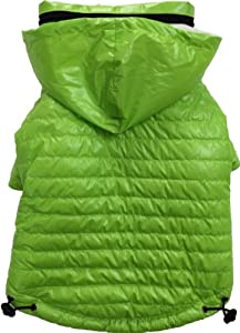 Pet Life Lightweight Adjustable 'Sporty Avalanche' Dog Coat with Removable 'Pop Out' Collared Hood, Medium, Fresh Green