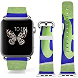 Iwatch Bands Strap 42mm Apple Watch Band Genuine Prime Elegant Leather Replacement For All IWatch With Silver... - B01BSMIS3O