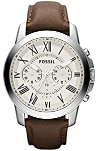 Cream Grant Chronograph Leather Watch by Fossil
