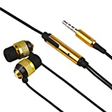 eForCity Universal 3.5mm In-Ear Stereo Headset w/ On-off & Mic Compatible with Samsung? Freeform II SCH-R360, Gold / Black