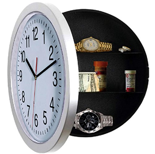 LIMITED-Wall-Clock-Unique-Gift-Large-Wall-Clocks-with-a-Hidden-Compartment-or-Stash-Box-Kitchen-Clock-with-10-inch-White-Face-Use-as-Secret-Place-to-STASH-CASH