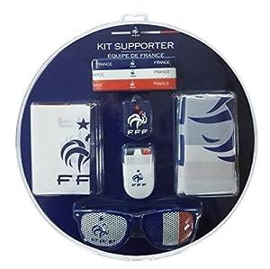 FFF Kit Officiel de Supporter : Bracelets, Drapeau, Peinture, Tap-Tap, Porte Clef et Lunettes