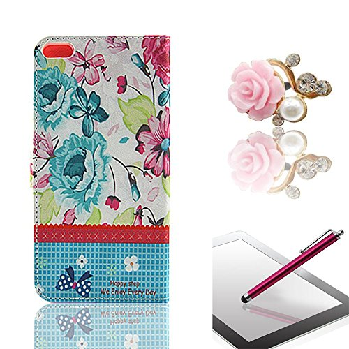 Vandot 3 In1 Accessory Set Phone Case Silicone Case For Apple Iphone 6 (4.7 Inches) Pu Leather Cover Leather Case Elegant 3D Girl Bling Shining Luster Crystal Diamond Rhinestone Pink Blue Yellow Pink Red White Orange Colored Flower Rock Magnetic Closure M front-932140