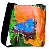 Snoogg Blue Butterfly In Orange Leaf Designer Womens Carry Around Cross Body Tote Handbag Sling Bags