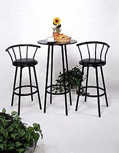 Black Bar Table & Pub Set with 2 Stools