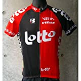 B・EMME Lotto SS Jersey ブラック/レッド L(AB12B-LOTTO-L)