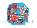 London Souvenir Laser Cut Fridge Magnet - London Everything Blue