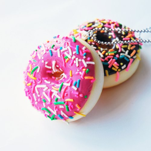 Set of 2 Scented Sprinkled Donut Necklace