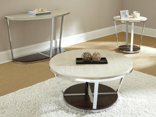 Bosco Faux Marble Round Cocktail Table With Casters In Espresso
