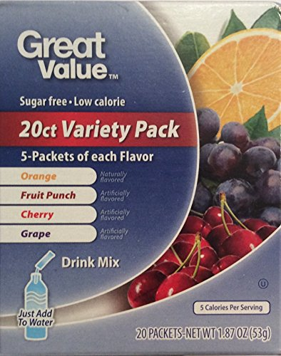 Great Value Sugar free-Low calorie 20ct Variety Pack Drink Mix (1 Pack) (Great Value Grape Sugar Free compare prices)