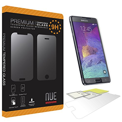 Nue Design Cases Tm [Samsung Galaxy Note 4] - 9H Hardness Premium Tempered Glass Screen Protector Real Explosion-Proof/Anti-Scratch/Anti-Shatter/Oleophobic Coating/Ultra Clear - With Lifetime Replacement Warranty [1-Pack]