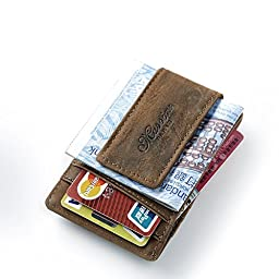 Teemzone Genuine Leather Money Clip Front Pocket Wallet with Magnet Clip Card Id Case (Brown)