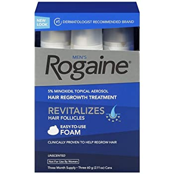 Set A Shopping Price Drop Alert For Rogaine for Men Hair Regrowth Treatment, 5% Minoxidil Topical Aerosol, Easy-to-Use Foam, 2.11 Ounce, 3 Mo