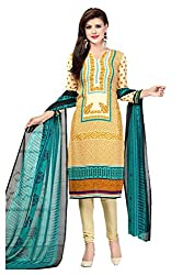 Nikki Fab Beige Crape Printed Dress Materials