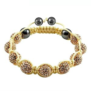 Shamballa Crystal Disco Ball Friendship Bead Braceletsgold With Yellow String by The Jewels