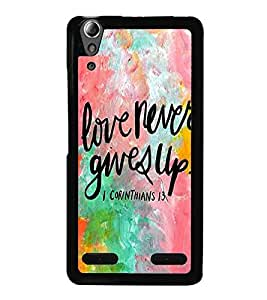 Fuson Premium 2D Back Case Cover Love never gives up With blue Background Degined For Lenovo A6000 Plus