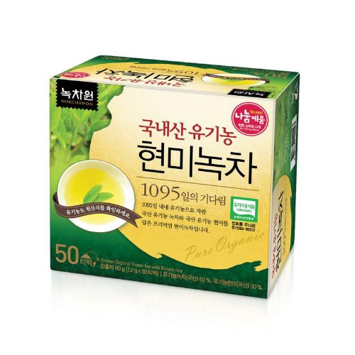 [Nokchawon] New Usda Certified Organic Brown Rice Green Tea 50 Tea Bags.