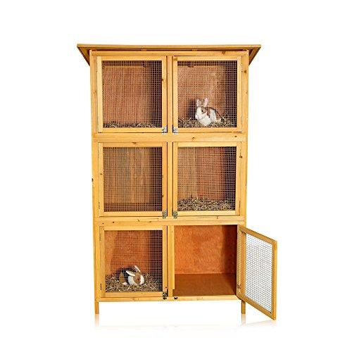 6-Boxen-Hasenstall-Kaninchenstall-Kleintierstall-Aufzucht-Holz-Kaninchenstall