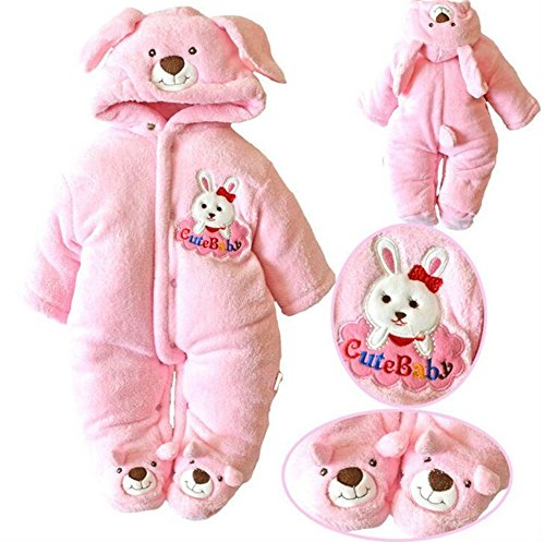 Newborn Baby Clothes Girls Boys Romper Winter Jumpsuit Thicken Cotton 0-3M Pink
